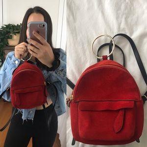 Zara faux suede mini backpack, red